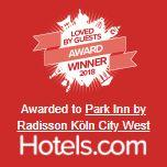 Loved by Guest Award awarded by Hotels.com to Park Inn by Radisson Köln City West